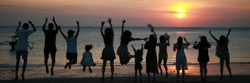 Enjoying the beach in Bali
