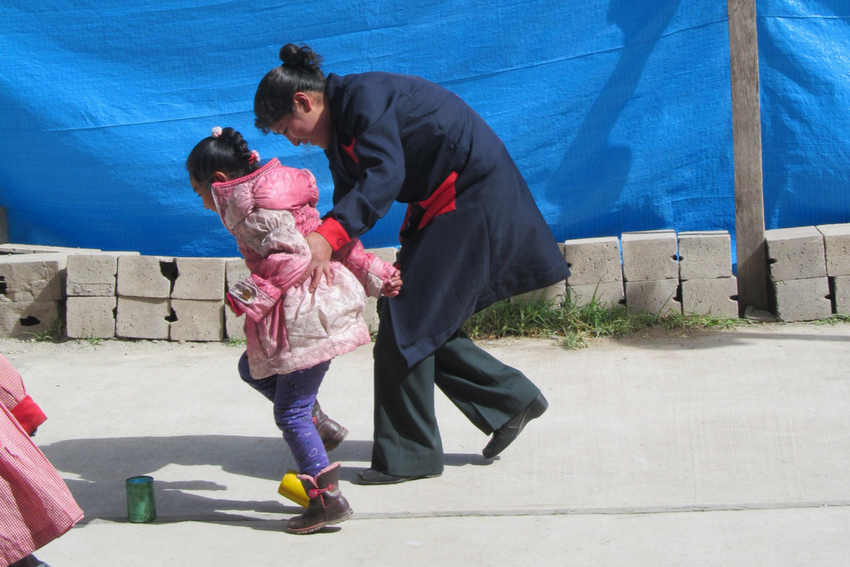Enjoying exercise during a special needs care internship in Peru