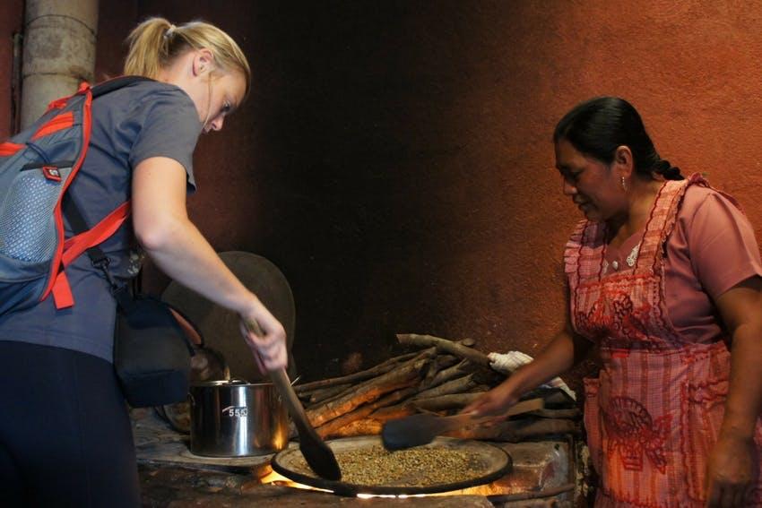 Traditional coffee roasting in Guatemala