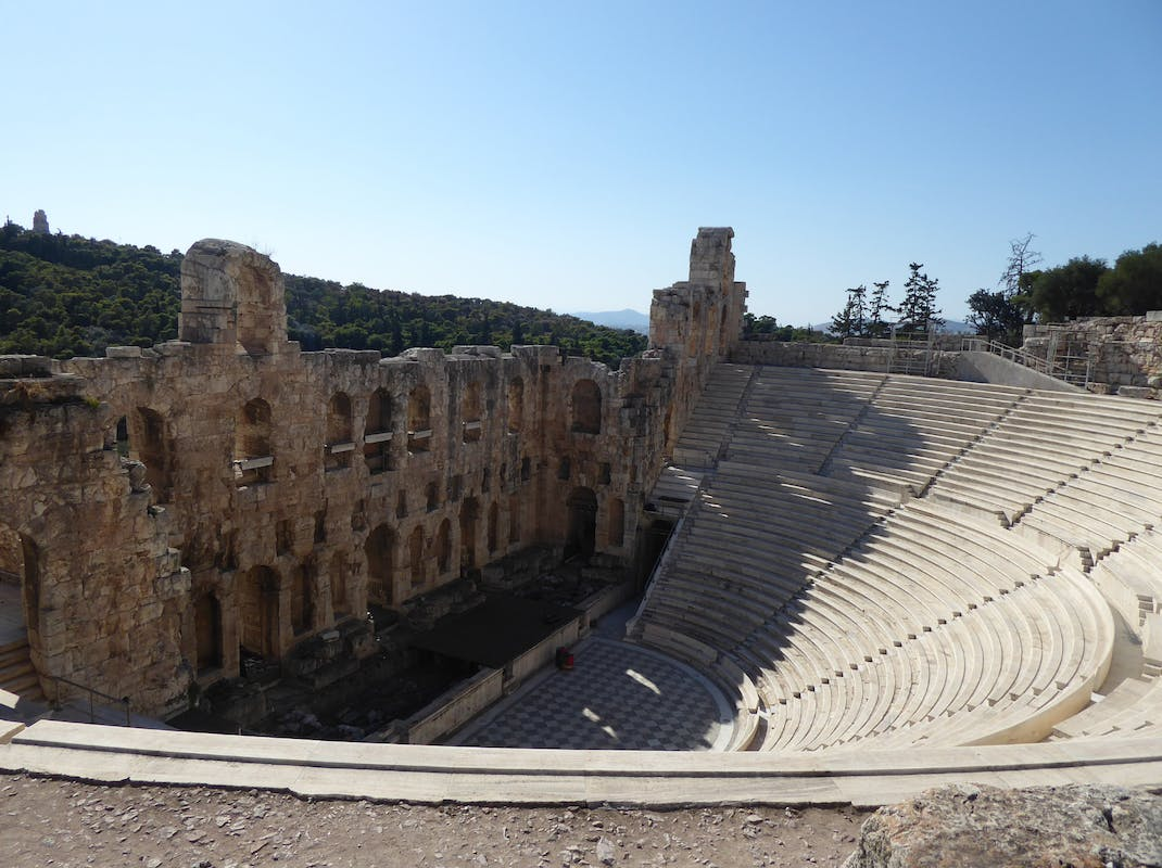 The Odeon of Herodes Atticus stone theatre near the Acropolis of Athens, Greece
