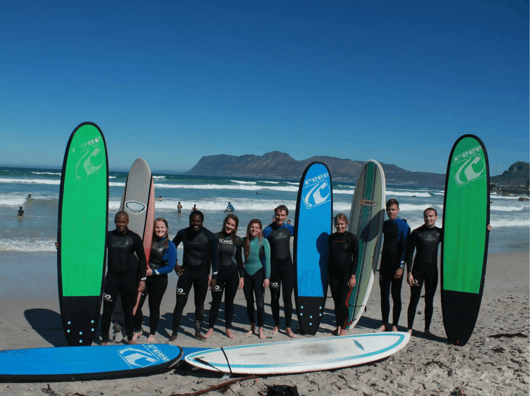 Interns learn to surf in South Africa