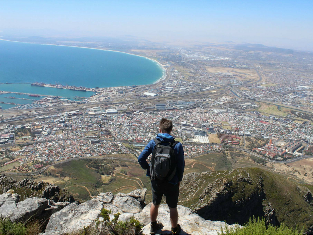 Student overlooks Cape Town in South Africa