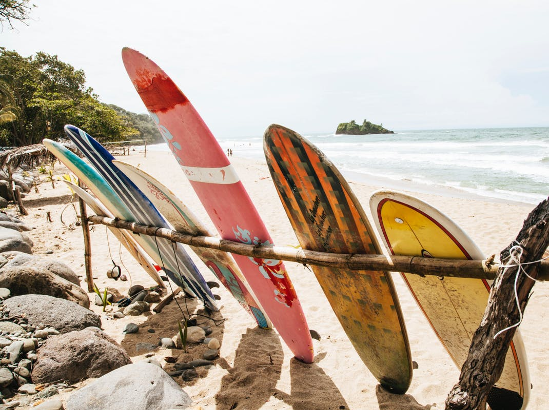 Surf boards at the beach in Costa Rica