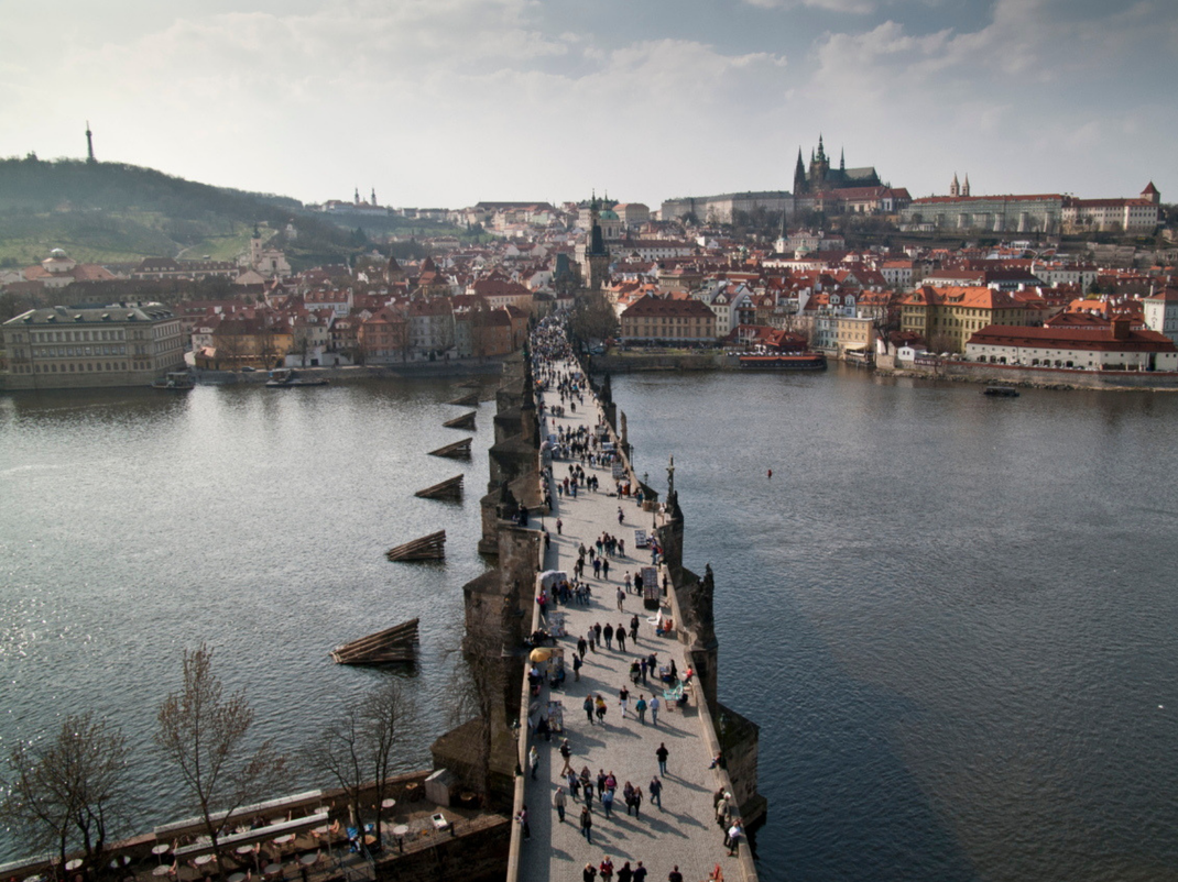 Overlooking the Vltava river in Prague