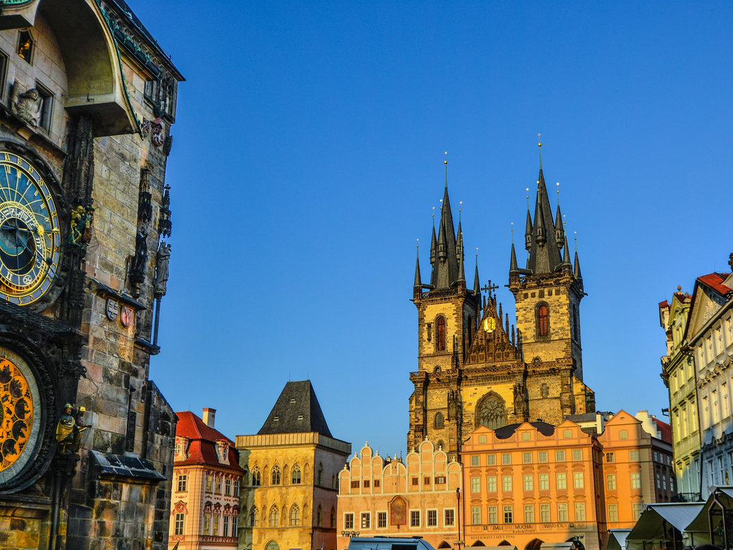 The Astronomical Clock, among other landmarks, in Prague