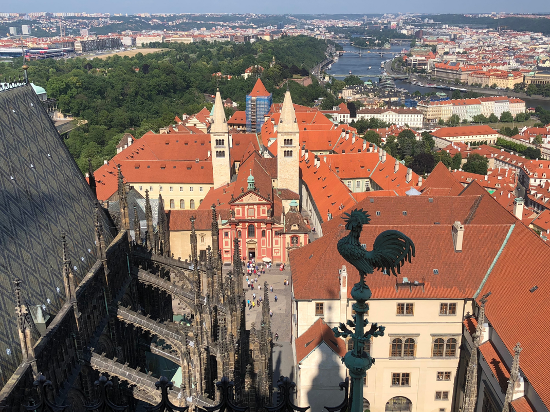 View from the top of the St. Vitus Cathedral in Prague