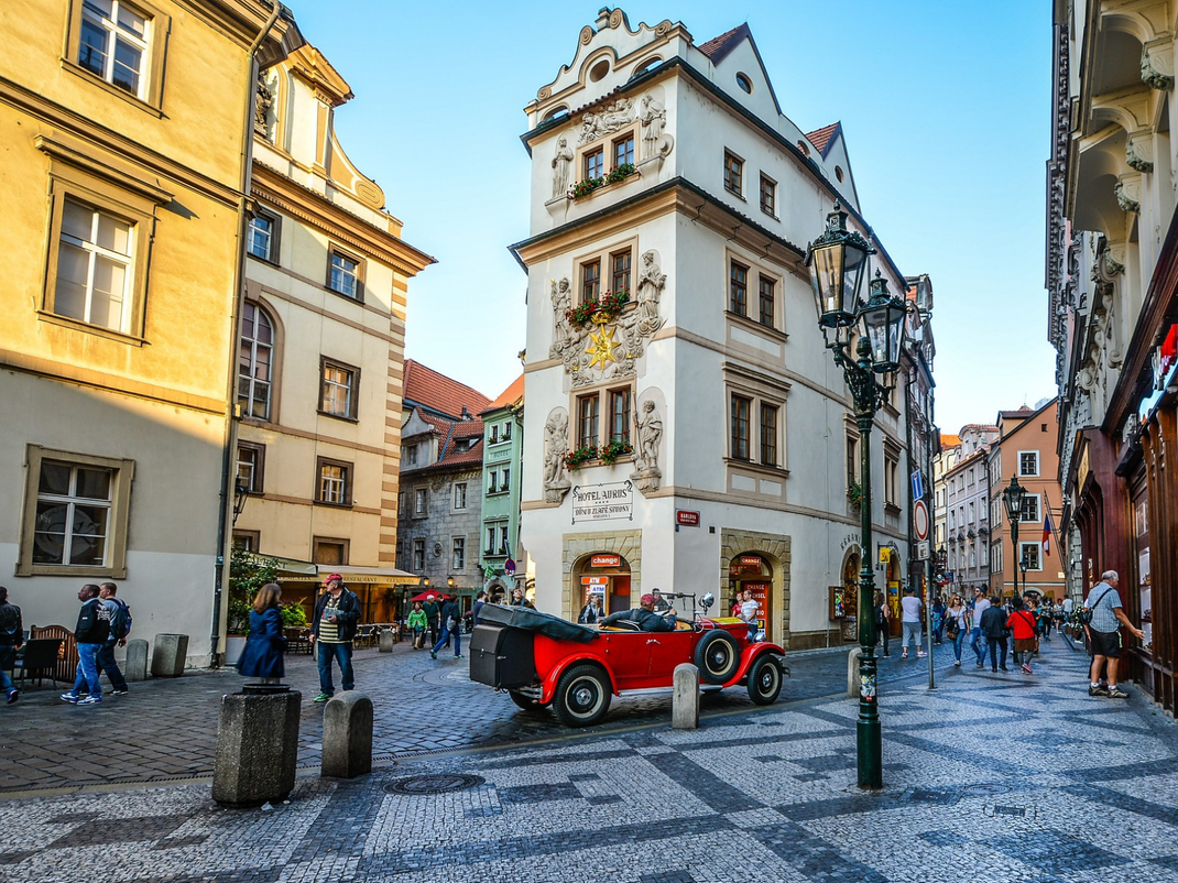 Outside a 16th century building in the Old Town Square of Prague, now Hotel Aurus
