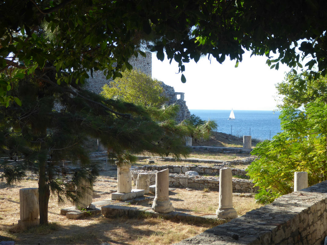 Beautiful view overlooking ruins and the ocean in Pythagorio