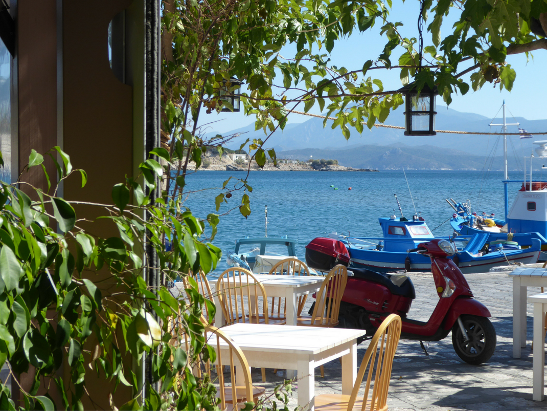 Pretty street in Samos, Greece