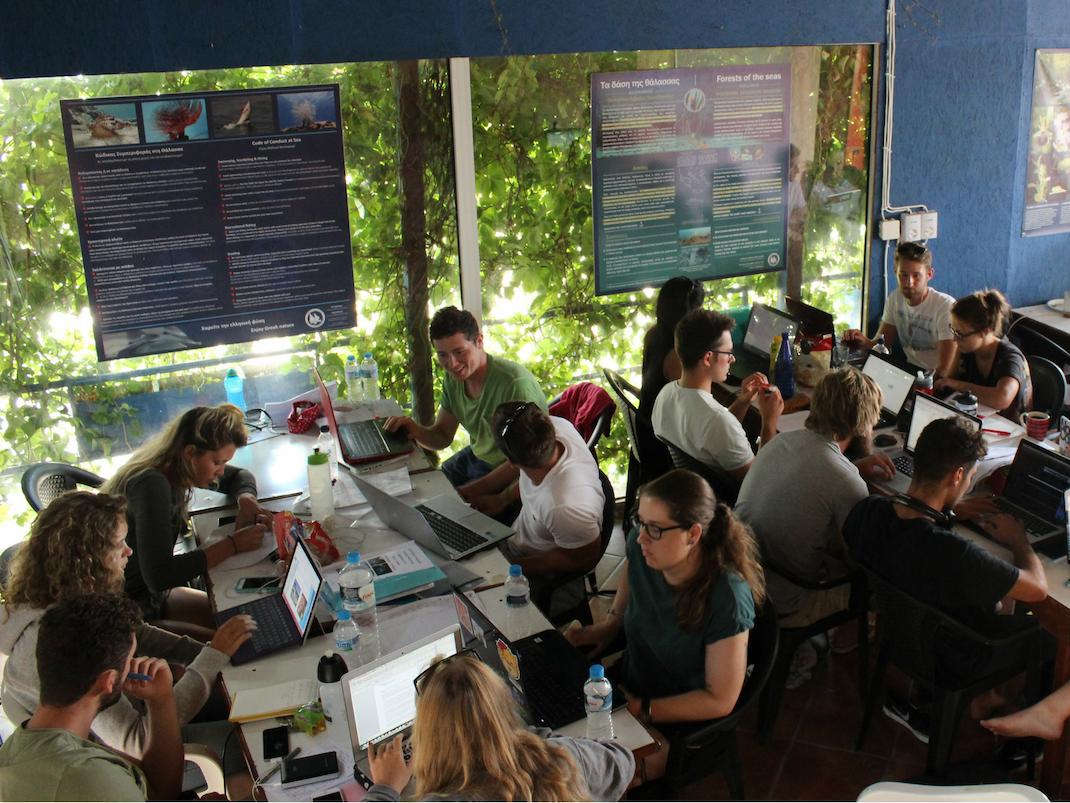 Internship students in Samos, Greece