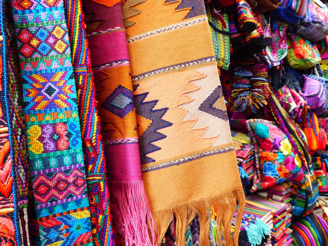 Colorful textiles for sale in Antigua Guatemala