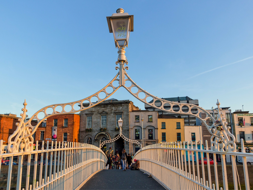 Ha'penny Bridge pedestrian bridge in Dublin Ireland