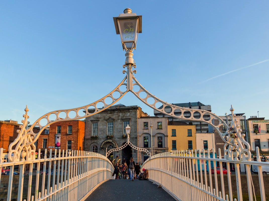 Ha'penny Bridge pedestrian bridge in Dublin Ireland