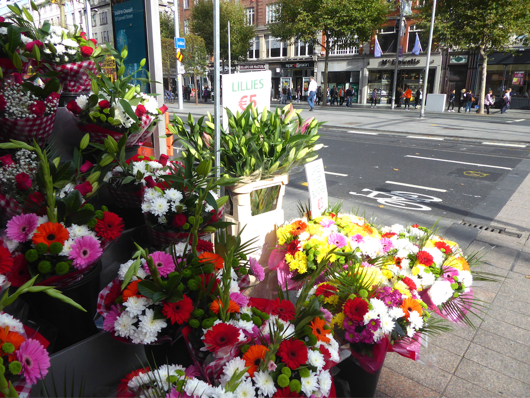 Flowers for sale on the street in Dublin Ireland