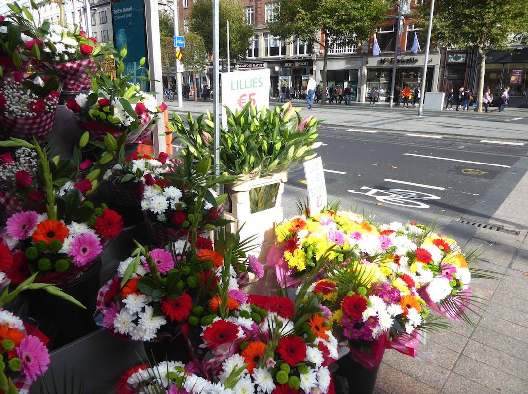 Flowers for sale on the street in Dublin Ireland
