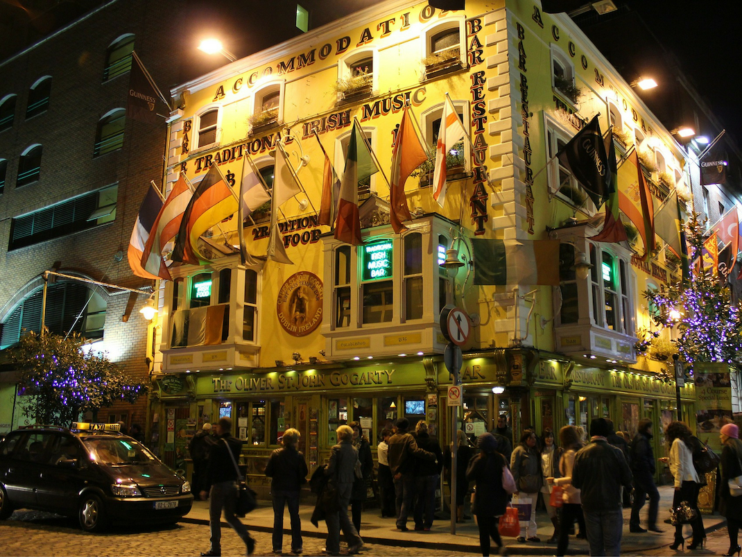 Dublin Pub and Hotel at night