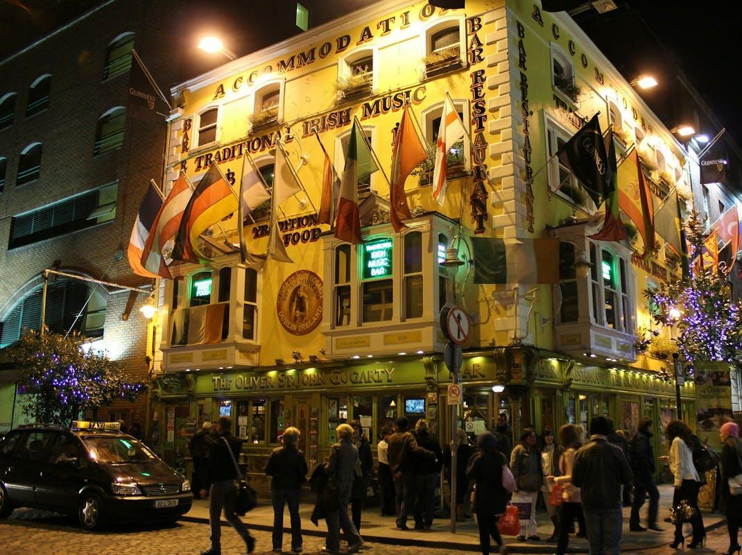 Dublin Pub and Hotel at night