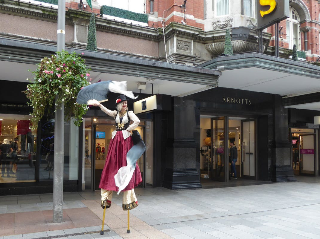 Street performer in downtown Dublin