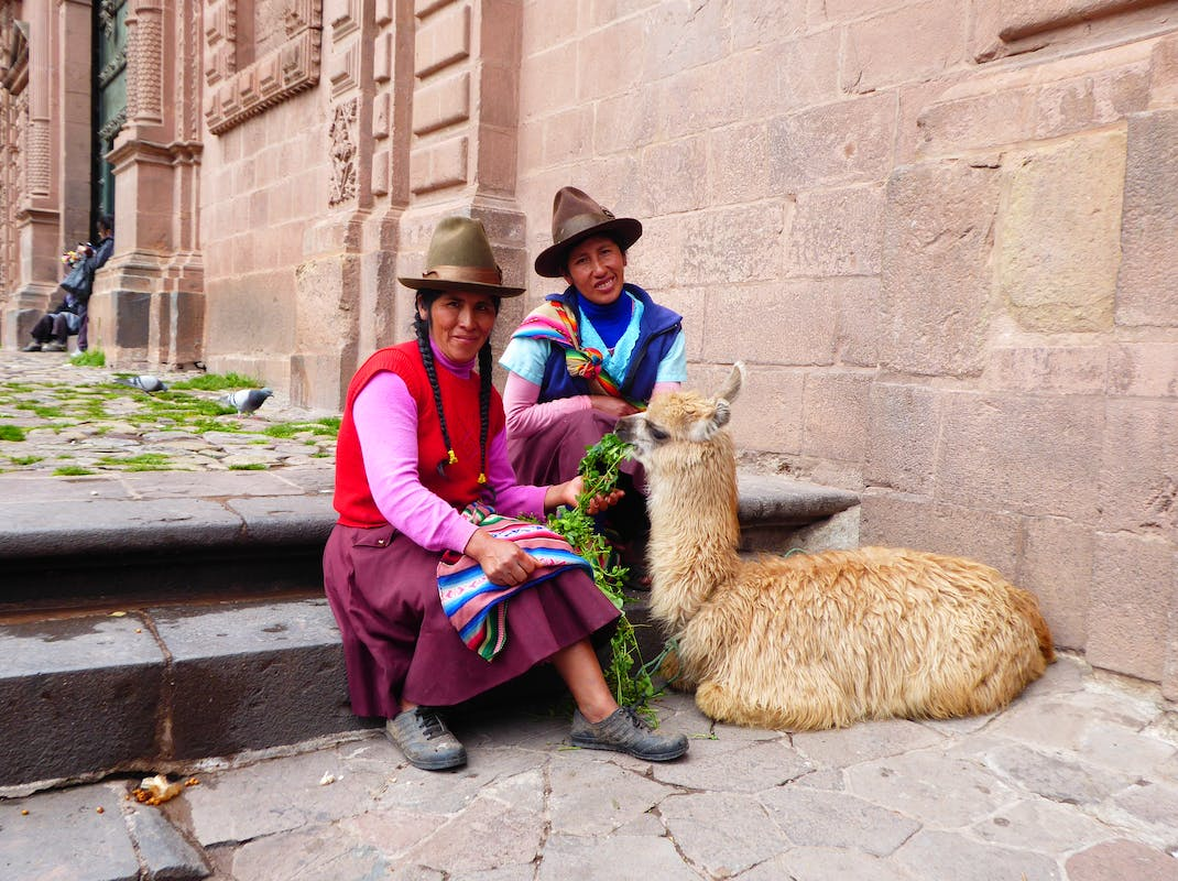 Indigenous women in Cusco pose with llama