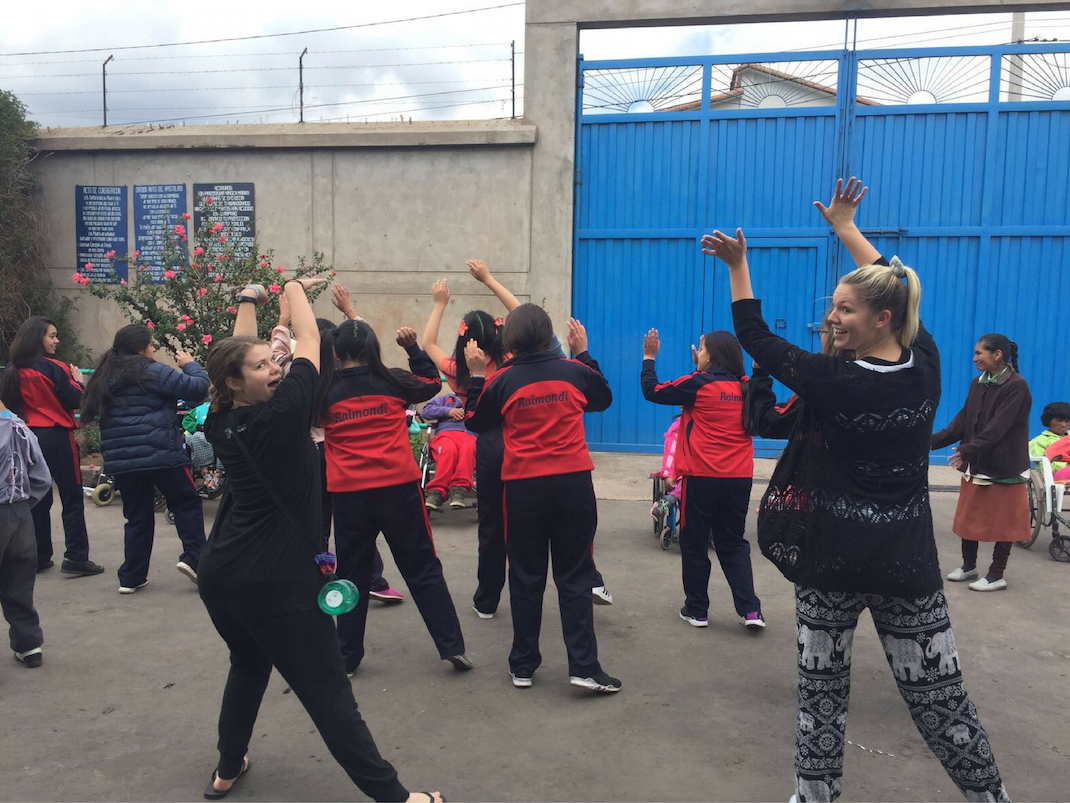 Special Needs Care interns dancing in Cusco, Peru