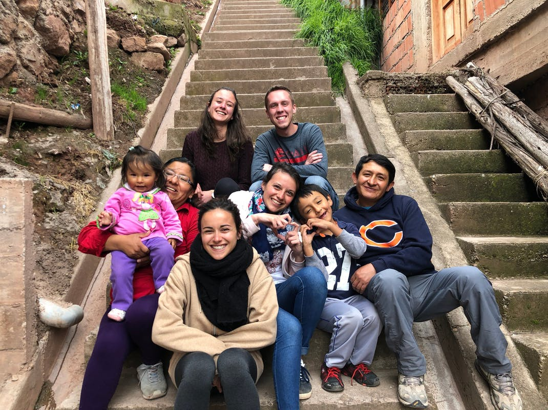 Intern with host family and friends in Cusco