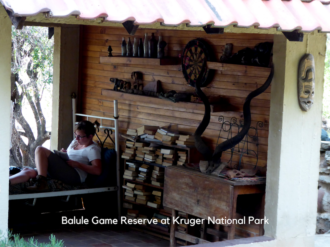 Internships in Balule Game Reserve at Kruger National Park intern relaxes in the open-air lounge