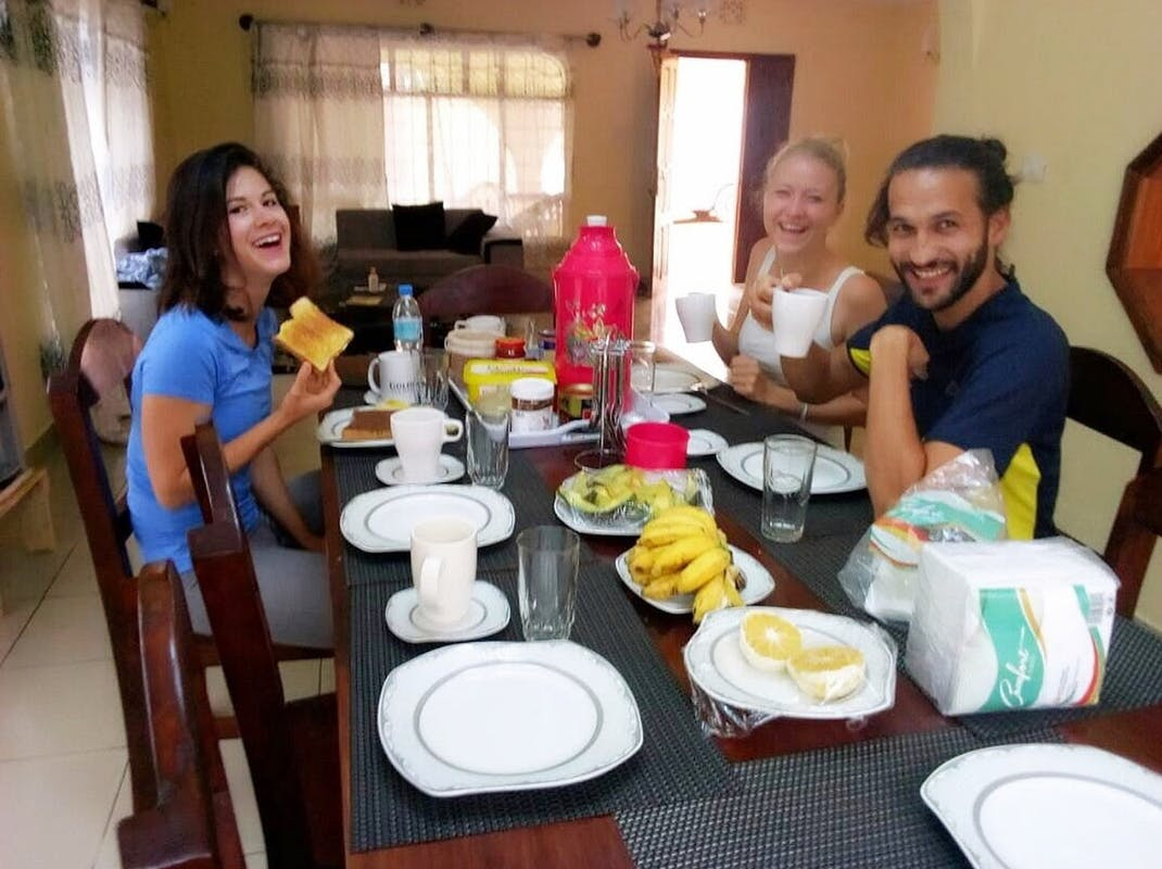 Interns having breakfast in Tanzania, Intern Abroad HQ